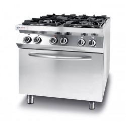 Kuchnia gazowa 4-palnikowa Kitchen Line z konwekcyjnym piekarnikiem elektrycznym GN1/1