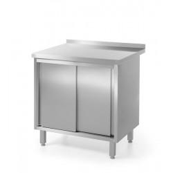 Stół przyścienny, z szafką z drzwiami suwanymi - spawany Stół przyścienny z półką